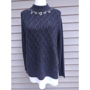 Gray Sweater Embellished Neckline Mockneck